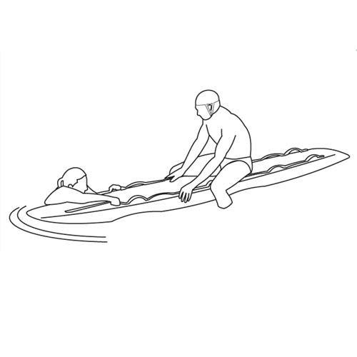 Wetiz surf rescue board, hard top, 320x55 cm, geel
